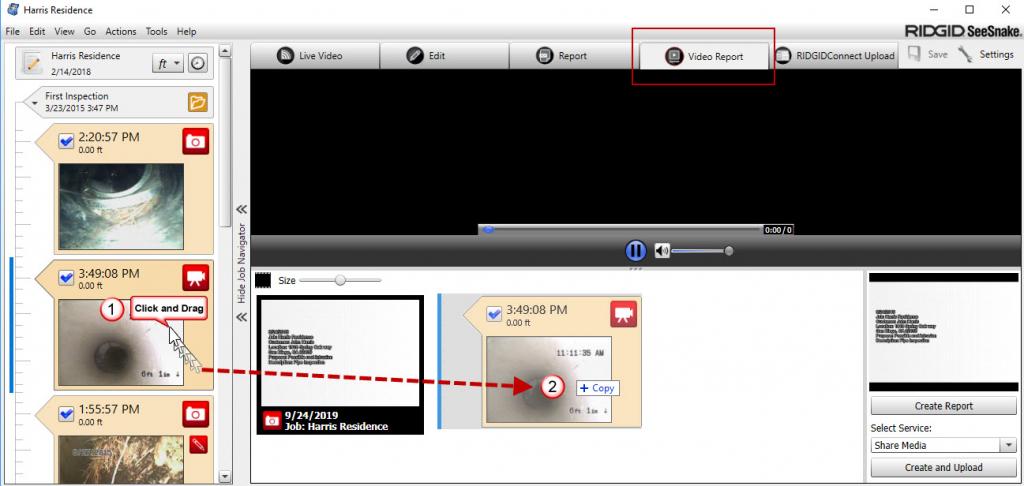 HQ video report click and drag media